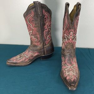 Tony Lama Brown Pink Womens Western Cowgirl Boots